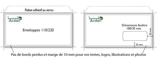 Dimensions enveloppes standard for Format fenetre